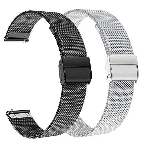 WATORY Compatible avec les bracelets Daniel Wellington/Fossil Gen 4 Q Venture HR de 36 mm en maille d'acier inoxydable de 18 mm pour Withings Activite/Pop/Steel HR 36 mm.