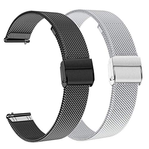 WATORY Compatible avec les bracelets Daniel Wellington/Fossil Gen 4 Q Venture HR de 36 mm en maille d'acier inoxydable de 18 mm pour Withings Activite/Pop/Steel HR 36 mm.