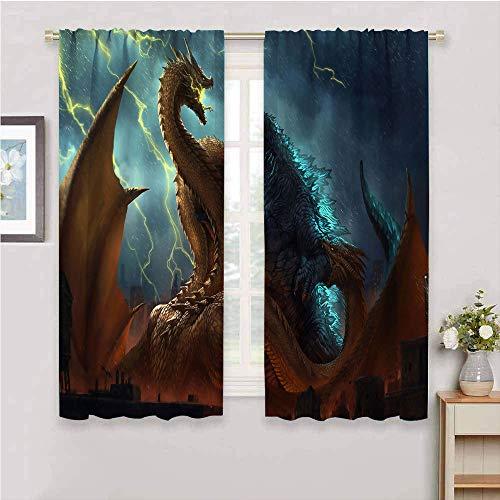 Godzilla - Cortinas opacas con bolsillo para barra, tamaño King Ghidorah, juego de 2 paneles con bolsillo para barra, cortinas de oscurecimiento para dormitorio de 84 x 84 pulgadas