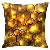 Marcia Abbot(t) Fundas de Almohada abstractas Doradas hexagonales geométricas en la Oscuridad, 18 x 18 Pulgadas en el sofá Diario, Fundas de Almohada con Cremallera