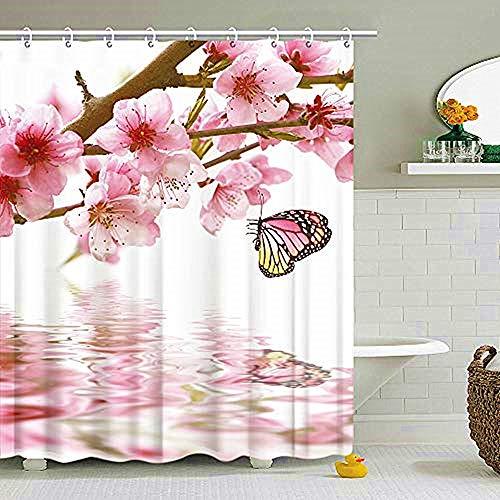 Duschvorhang mit rosa Blumenmuster, Frühlingsmotiv, Badezimmer-Vorhang, Pfirsichblüten/Schmetterlings-Dekoration, Set mit Haken, 183 x 183 cm, maschinenwaschbar