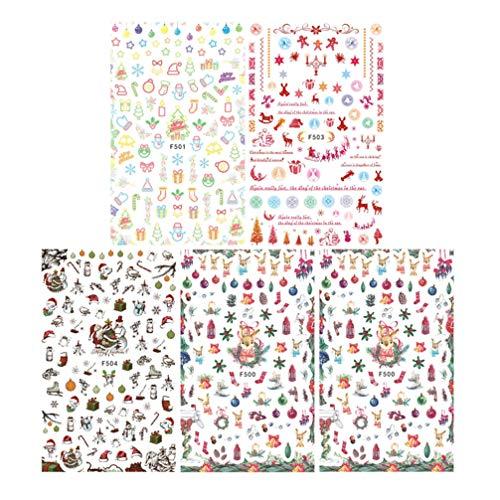 Lurrose 5 hojas pegatinas de uñas de navidad dibujos animados autoadhesivas calcomanías de uñas 3d santa claus copo de...