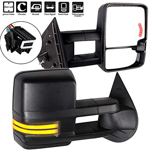 OCPTY Towing Mirrors with Power Heated Left Right Side Tow Mirrors Compatible with Chevy Silverado Pickup New Body Style Models 2007 Chevy GMC 2007-2014 with Running Lights Lights