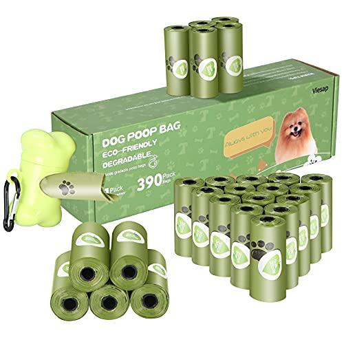 Viesap Bolsas Caca Perro, 390Pcs Bolsas Para Excrementos De Perro Con Dispensador, Gruesas Bolsas Perro Poop Bag Para Mascotas Domésticos, Fuertes Poop Bag Para Perro Mascotas, Verde Bolsa Caca Perro.