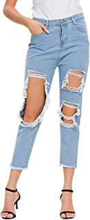 Fashion Trouser Cropped Women Plus Size Tassel Beggar Hole Ripped Trousers Jeans Denim Pants