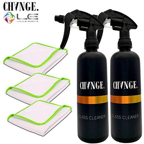 cleandot Glasreiniger-Set - 2 Stück CHANGE Cleaning Glass Cleaner Glasreiniger, 500ml + 3 Liquid Elements Streak Buster Mikrofasertücher für Auto Scheibenreinigung