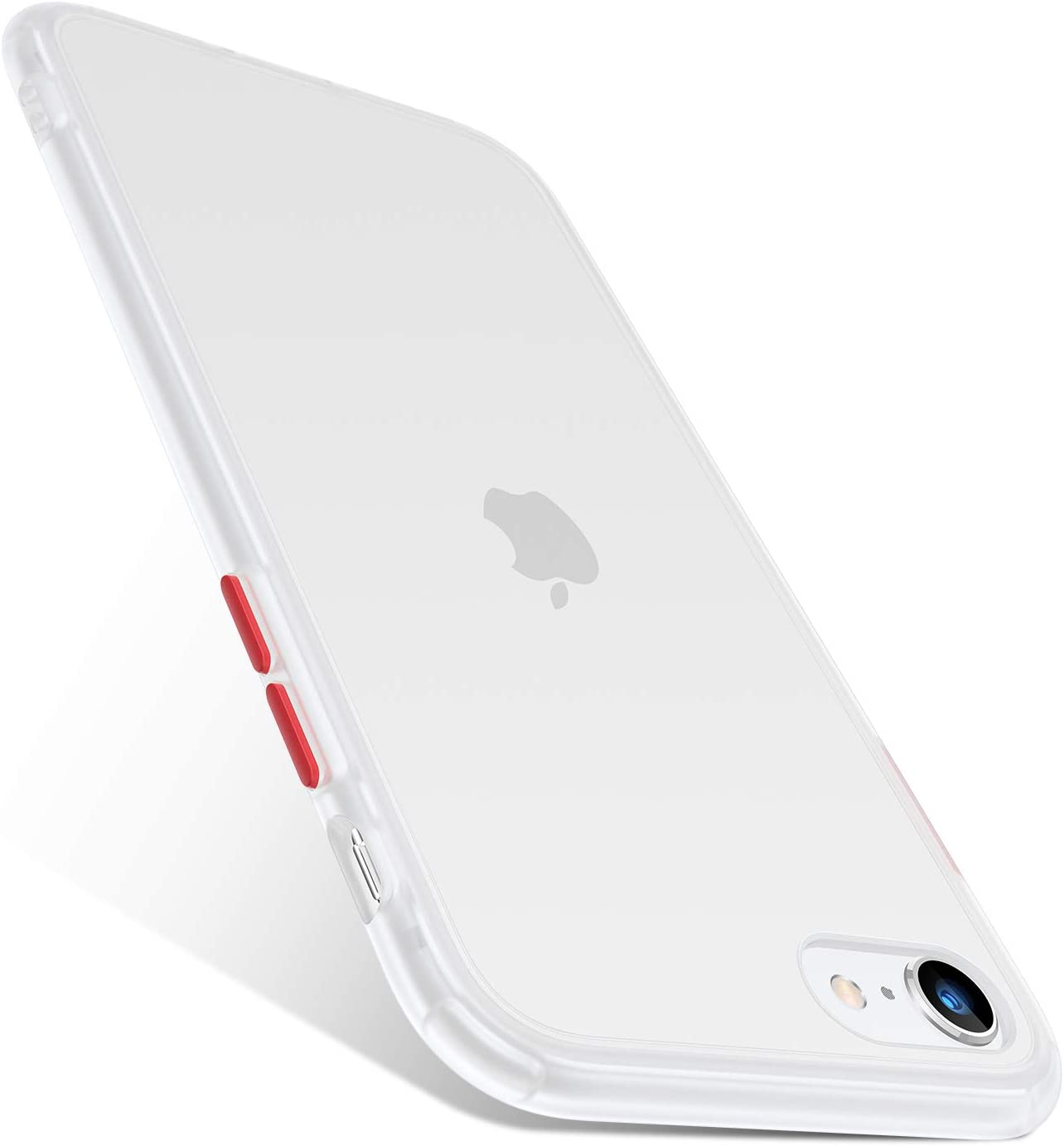 TORRAS Shockproof Compatible for iPhone SE Case 2020 & iPhone 8 Case [Military Grade Drop Test] Translucent Matte Back Silicone Bumper Protective Slim for iPhone SE 2020/8/7 Case (White)