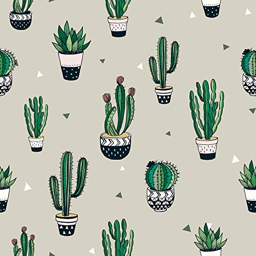 AMAZING WALL Peel and Stick Wallpaper Cactus Pattern Self Adhesive 40x500cm