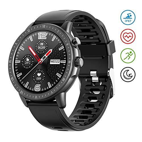 Voigoo Smartwatch,1.3 Zoll Touch-Farbdisplay Fitness Tracker mit IP67 Wasserdicht,Schlafmonitor,Schrittzähler,Mit deutschem Handbuch,für Damen Herren Kinder Kompatibel für Android IOS Huawei Samsung