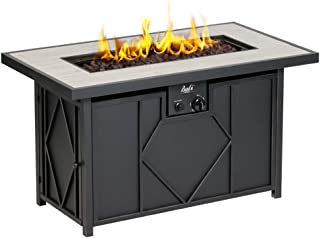 BALI OUTDOORS 42 inch 60,000 BTU Propane Gas Fire Pit, Outdoor Patio Rectangular Fire Pits Table, Black