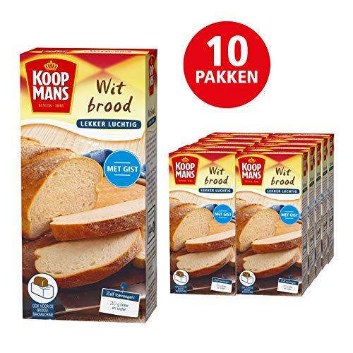 Koopmans Wit brood mix (10x 450g multipack), mix geschikt voor 1 brood of 10 zachte witte bolletjes (oven en broodbakmachine)