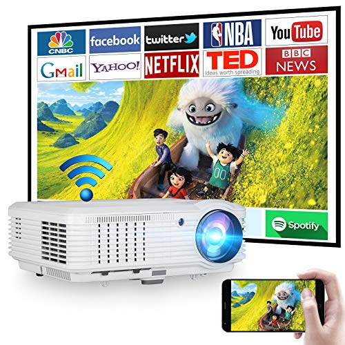"""WiFi Projector 5000 Lumen Wireless Bluetooth Projector Full HD Video Projector Home Theater 1080P and 200"""" Display, Compatible with iOS, Android, TV Stick, PS4, PC, for Outdoor Movies Video Games"""