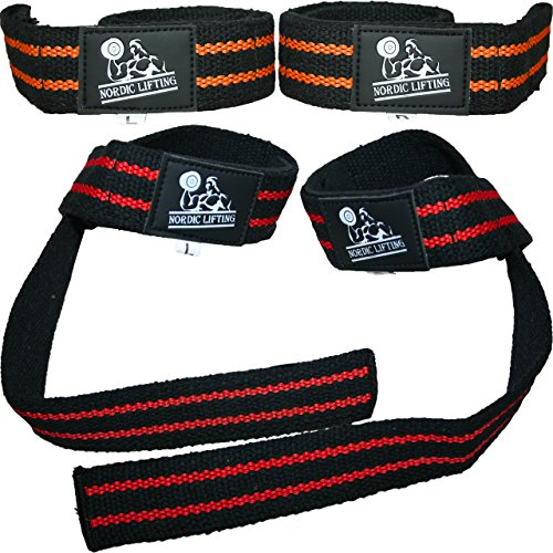 Lifting Straps (2 Pairs/4 Straps) for Weightlifting/Cross Training/Workout/Gym/Powerlifting/Bodybuilding-Support for Women & Men - Premium Quality Equipment & Accessories -Avoid Injury (Red/Orange)