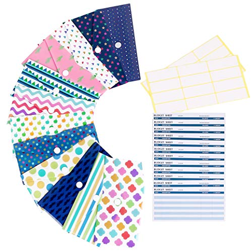 Cash Envelope System for Budgeting, 12 Premium Reusable Plastic Cash Envelope System with Snap Button Plus 12 Coin Envelopes and 12 Budget Sheets
