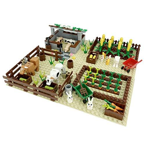 BGOOD 200 piezas de la jungla natural con placas de construcción, 4 en 1, paisaje, bosque, bloques de construcción con animales, árboles y flores, juguete de construcción compatible con Lego