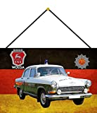 NWFS Polizei Auto DDR Wolga Volkspolizei Blechschild Metallschild Schild Metal Tin Sign gewölbt lackiert 20 x 30 mit Kordel