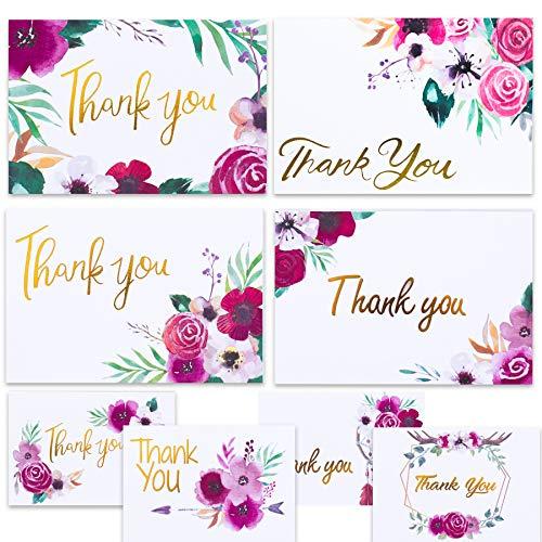 Dankeskarten für Designer mit Boho Blumenmuster 48 Blanko-Karten mit Umschlägen für Babyparty, Dankeskarten für Hochzeit, Dankeskarten und Dankeskarten für Brautpartys