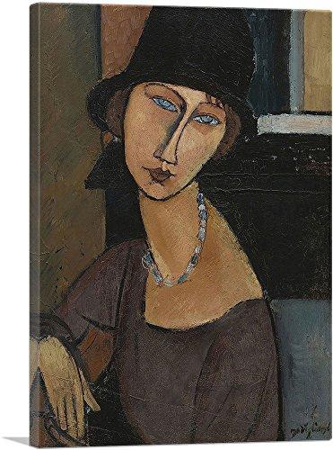 "ARTCANVAS Jeanne Hebuterne with Hat 1917 Canvas Art Print by Amedeo Modigliani - 40"" x 26"" (0.75"" Deep)"