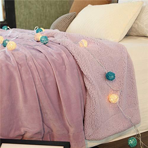 XUMINGLSJ Manta de Microfibra Color sólido, Extra Suave Mantas para Sofás, Multifuncional para sofá, Cama, Viajes, Adultos, niños -púrpura_El 180x200cm