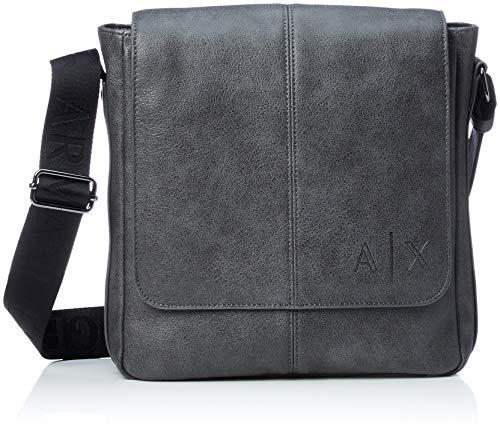 Armani Exchange - Messenger Bags, Bolso Hombre, Negro (Magnet), 26.0x9.0x26.5 cm (B...