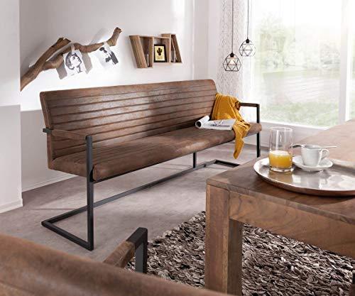 DELIFE Essbank Earnest Braun Vintage 200 cm mit Armlehne Gestell Metall Sitzbank