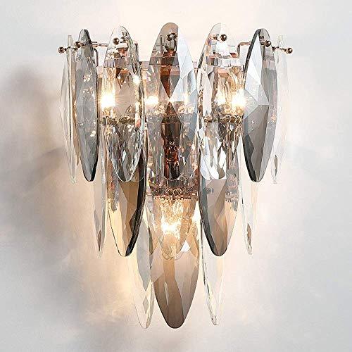 Nordic Modern Fashion Conce Wall Lamp with Smoky Gray Crystal Shadebrassbracket E14 Socket Wall Light 3-Lights Indoor Decorative Fixture for Living Room Lighting Bedside Aisle -  Waqihreu, 8033785676537