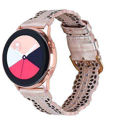 Glebo Correa de piel de 20mm compatible con Samsung Galaxy Watch 3 41mm/Watch 42mm/Active 40mm/Active 2 (40mm/44mm) para mujer, elegante correa de piel de repuesto para Samsung Gear Sport, oro rosa