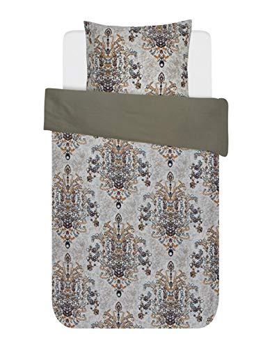 2 x 80 x 80 cm 200 x 200 cm Essenza Parure de Lit en Satin de Coton mako Motif Fleur Taupe Taupe Coton