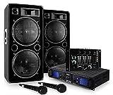 DJ Set DJ-20.1' - Pack Sono Pro, Set Sono, Set Enceintes, Table de mixage, Amplificateur PA, Subwoofers Basses 12', 2000 w, AUX, USB, SD, 2X Micro Dynamique, 2X Adaptateur Jack