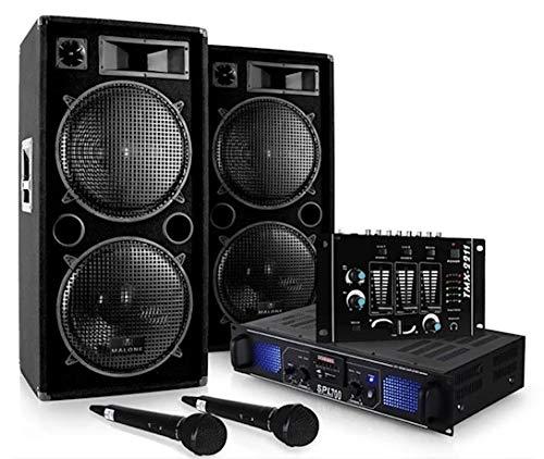 """DJ Set DJ-20.1"""" - Pack Sono Pro, Set Sono, Set Enceintes, Table de mixage, Amplificateur PA, Subwoofers Basses 12"""", 2000 w, AUX, USB, SD, 2X Micro Dynamique, 2X Adaptateur Jack"""