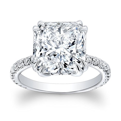 White sapphire cushion engagement ring with 2.50 carat Cushion White Sapphire Center and 0.30ctw G-V