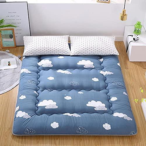 HFCY Materasso futon Pieghevole Matrimoniale Singolo Materasso 10 cm Futon Giapponese da Pavimento Tatami Mat Materasso Portatile,Blue-90 * 200cm