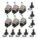 Ruesious 6 pezzi AC 250V 15A interruttore a levetta impermeabile interruttore on/off, 2 pin, 2 posizioni, per auto, barche ed elettrodomestici - con coperchio del cappuccio isolante