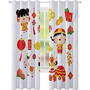 Window Curtains, Joyful Holiday Themed Pattern with Children Animals and Cultural Elements, Drapes for Living Room Bedroom, Multicolor