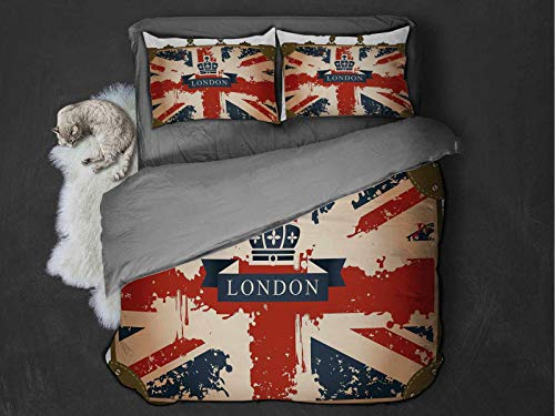 Toopeek Union Jack Quilt cover 3-piece set Vintage Travel Suitcase with British Flag London Ribbon and Crown Image Super soft and easy to maintain (King) Dark Blue Red Brown