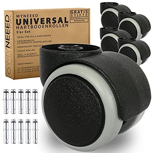 MYNEEED Universal Hartbodenrollen 10mm & 11mm für Bürostuhl - Sicherheits Stuhlrollen ohne Stift für Laminat Parkett Fliesen - Kratzerfrei und Leise Rollend - TÜV&GS Geprüft