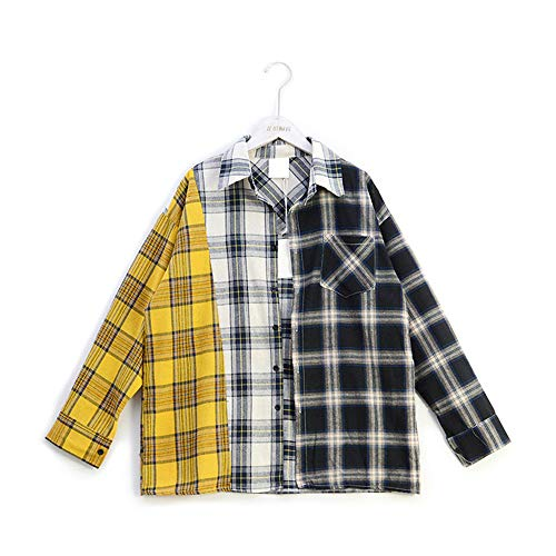 APHT Unisex Suga Style Freizeit Hemd kariert Checked Flanell Shirt Lange Ärmel Flanellhemden für Liebespaar Männer Damen Teenager Jugendliche