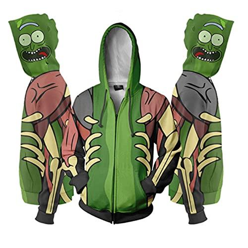 Hombres y mujeres Unisex Rick & Morty Hoodie Rick Morty 3D Imprimir Sudadera con capucha Sudadera Sudadera Sudadera Chaqueta (Color : Zipper Rick Morty, Size : 3XL)
