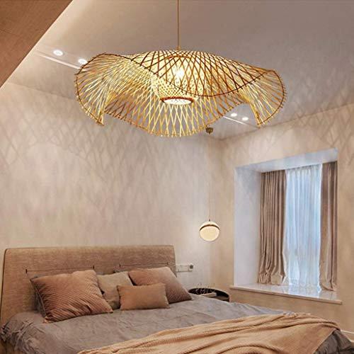 Lustres Lampe Suspension Vintage Tissé Pendentif Bambou Naturel Rotin Lampe À La Main Garden Applique Murale E27...