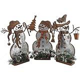 TisYourSeason Galvanized Steel Snowmen Christmas Decoration Set of 3