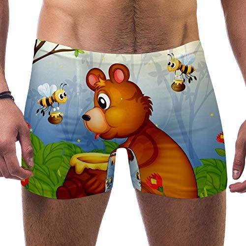 LORVIES Leuke Beer met Bijen Honing Mannen Zwem Boxer Briefs Korte Vierkante Been Badpak Snelle Droge Zwemkleding, S