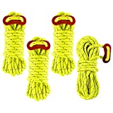 Balit Reflective Nylon Pull Paracord 4 Pack 4mm 13FT Tent Guy Lines Rope with Aluminum Rope Tensioner Fits Camping Tent Hiking Outdoor Activity(Fluorescent Green)