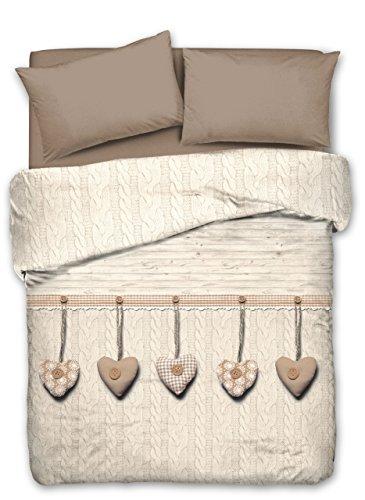 Sommer-Tagesdecke für Doppelbett, 260 x 280 cm, mit Herzen, Beige aus Baumwoll-Piqué, Jacquard, inklusive 2 Kissenbezügen