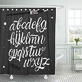 N\A Duschvorhang Wasserdicht Badezimmer Home Decor Alphabet ABC Buchstaben Tippfehler Handschrift Tafel Polyester Stoff verstellbare Haken Set