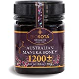 BIOSOTA Organic Manuka Honey MGO 1200+ - Medical Grade Manuka Honey from Australia | Australian Certified Organic Honey | Jelly Bush Honey NPA/ULF 25+ | 8.8oz