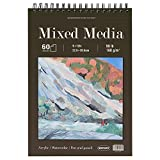 Mixed Media Sketch Pad, 9 x 12 inches, 60 Sheets (98lb/160gsm) Heavyweight Drawing Papers, Top Spiral Bound Hardcover Sketchbook, for Wet and Dry Media, Drawing, Painting