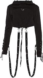 BEYOLO Women's Darkness Gothic Punk Rock Sweatshirt Hollowed Back Crop Hooded Crop Coat
