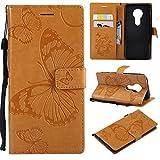 Aralinda Coque pour Moto E5, motif papillon, fleurs et fleurs, en cuir synthétique avec dragonne,...