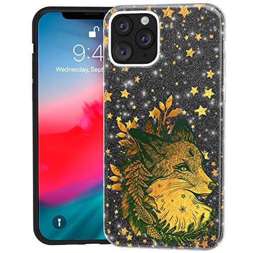 Mertak Glitter Case for Apple iPhone 11 Pro Max 10 Xr Xs X 8 Plus 7 6s TPU Stars Fox Lightweight Animal Gold Rose Sparkly Crystal Purple Shiny Silver Christmas Bling Silicone Gold Slim Fern Cover Boho