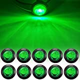 NBWDY 10pc 3/4' Inch Mount Green LED Bullet Marker lights, Side LED marker lights, led side marker lights, led trailer marker lights,for trailer Truck RV Car Bus Van (10Pcs Green)